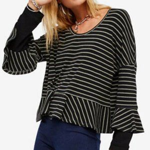 Free People Round About Tee Top Small Striped